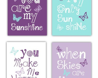 Butterfly Art // Butteryfly Nursery Art // Lavender Nursery Decor // Butterfly Art for Girls // You Are My Sunshine Decor // PRINTS ONLY