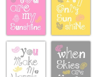 You are my sunshine Nursery Decor // Paisley Art Prints // Paisley Art // Pink and Yellow Nursery Wall Art // 4-8x10 PRINTS ONLY