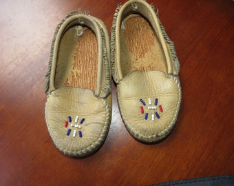 Vintage Leather Beaded Childrens Native American Indian Moccasins - box N