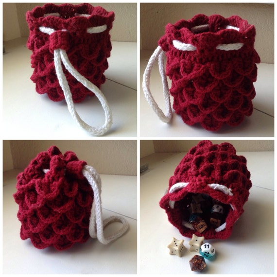 Dragon Dice Bag Crochet Pattern : Items similar to Dragon Hide Dice Bag - Red/White on Etsy