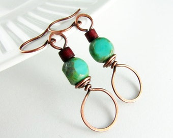 Wire Wrapped Earrings Copper Earrings Turquoise  Earrings Copper Jewelry Wire Wrapped Jewelry Hoop Earrings