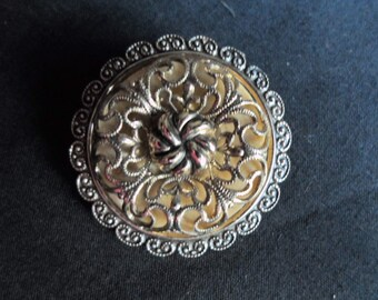 Vintage Gold Tone Filigree Eloxal Scarf Clip Western Germany 1950s to 1970s Accessory