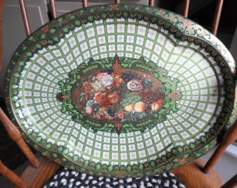 Vintage Oval Green/Gold Flower Pattern 1970s Daher Large Huge Tin Metal Tray Decorative Wall Hanging Use England