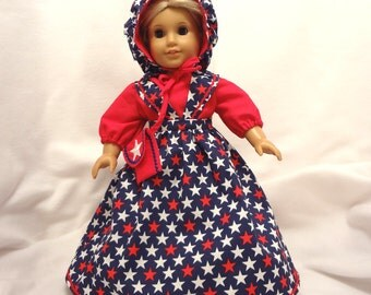 5-piece 4th of July outfit, long dress for 18 inch dolls.  Red and white stars on dark blue.  Blouse, Jumper, Pantaloons, Bonnet, and Purse.