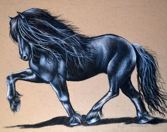 8x10 Charcoal Drawing Friesian Horse Print from the Original Number 2