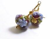 Purple Flower Lampwork Earrings, 1 3/8 inches (3.5cm) Drops, Dark Purple with Light Purple Flowers and Green Leaves Glass Bead Earrings