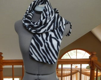 Zebra Print Fleece Scarf