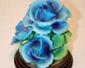 Capodimonte Capo Di Monte Porcelain Figurine Floral Blue Roses Decorative Centerpiece Handmade Pottery