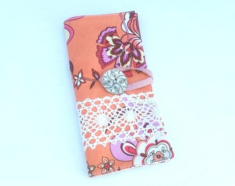 Large Wallet, Card Holder, Tea Wallet, Tangerine Paisley and White Crocheted Lace