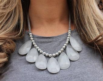 Gray Teardrop Necklace - Tie Back Teardrop Statement Necklace in Gray