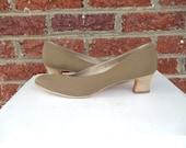 SALE Salvatore Ferragamo Khaki Nylon Pumps with Wooden Heel - Neutral - Made in Italy - High Fashion Designer - 11 AAAA - Narrow