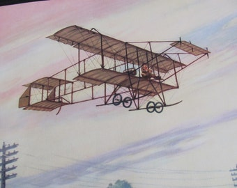 Vintage Early Century Airplane Poster Print - Charles Hubbell - H Farman Biplane 1910