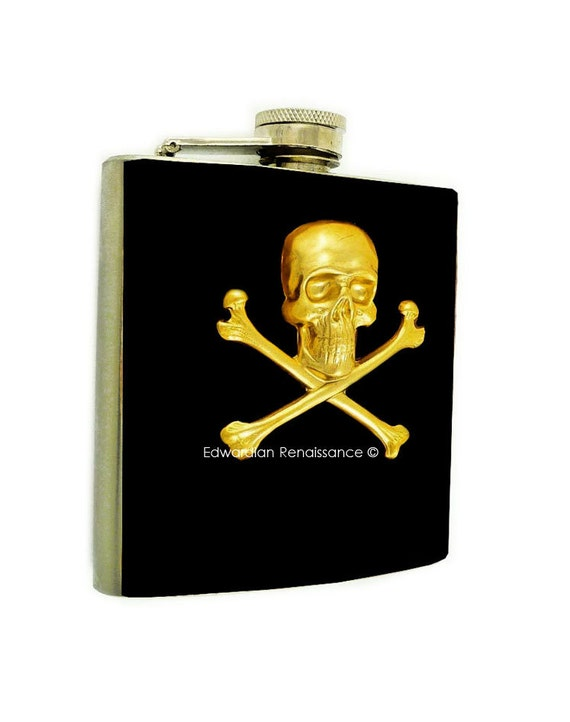 Skull and Cross Bones Hip Flask Inlaid in Hand Painted Black Enamel Neo Victorian Inspired with Personalized and Color Options