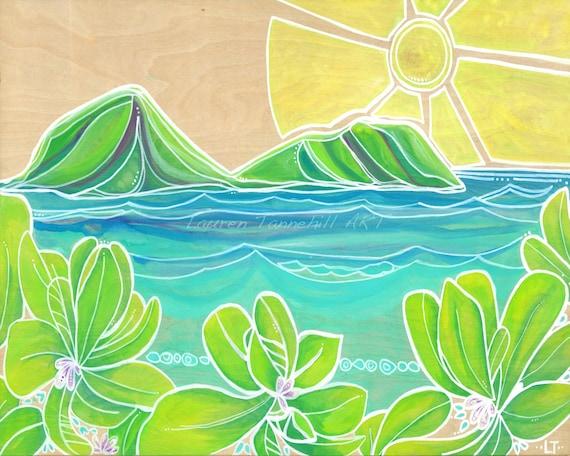 8x10 Giclee Print Surf Art Print Hawaiian Rabbit Island Surf Art with Naupaka Flowers by Lauren Tannehill ART