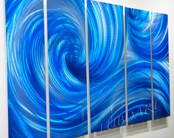 Abstract METAL art painting Video 3D effect Ocean wave dance elegant sculpture blue colour modern contemporary wall decor Original by Lubo