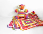 Crochet Baby Blanket and Stuffed Teddy Bear Baby Shower Gift New Mom Gift Granny Square Blanket Handmade Toy Play Blanket Spring Trends