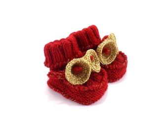 Christmas Baby Booties with Crochet Golden Bells, 3 - 6 months