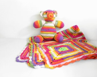 Crochet Baby Blanket and Stuffed Teddy Bear Baby Shower Gift New Mom Gift Granny Square Blanket Handmade Toy Play Blanket Spring Trends