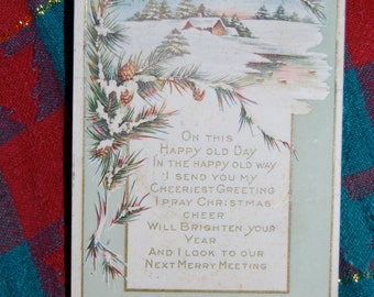"Vintage Christmas Greetings Postcard  Postmarked 12-24-1915 ""On This Happy Old Day...""  Espteam"