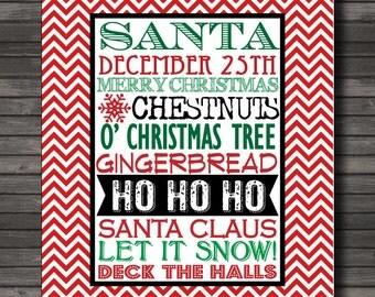 Christmas Subway Decor, Holiday Art Printable, Santa, Instant Download