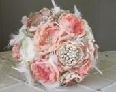 Fabric flower brooch wedding bouquet . Custom bouquet for Jasmyn. Peach, champagne, coral, sage green