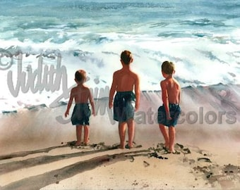 """Beach Boys, Brothers, Friends, Blue Bathing Suits, Seashore, Children, Watercolor Painting Print, Wall Art, Home Decor, """"Three Musketeers"""""""