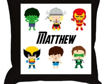 Custom Name Pillow-Super Hero Avenger-Choose Character(s) and Name 14x14