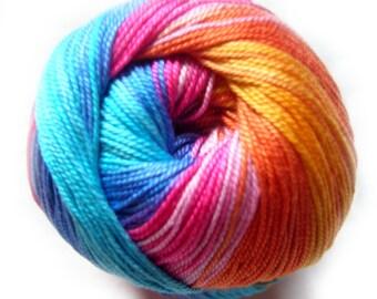 Batik designed cotton yarn Alize Miss Batik. 100% Mercerized Cotton. Vivid colours (4536)