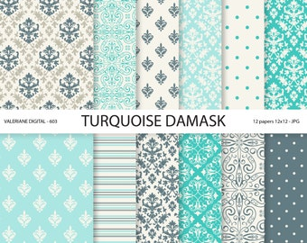 Damask Paper, turquoise damask digital paper, blue, wedding papers, scrapbook paper, scrapbooking - 603