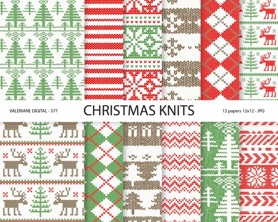 Christmas Sweater Digital Paper Winter Knits red and green