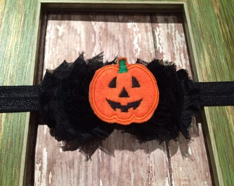 Black Shabby Flower Felt Jackolantern Double Flower Halloween Headband Babies Toddlers, Girls