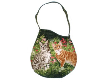 Cat Print Tote Bag Purse, Cat Lover's Bag, Cats in the Garden Option 2 OOAK