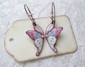 Handmade Butterfly Earrings - Plastic- Pink - Natural Brass Ear Wires