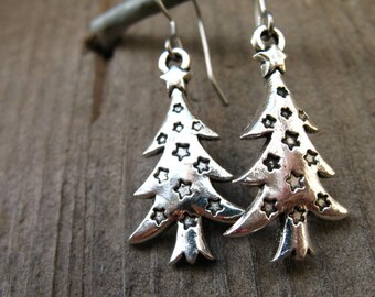 Titanium Christmas Tree Earrings, Antiqued Silver Christmas Tree Charms on Hypoallergenic Titanium Ear Wires