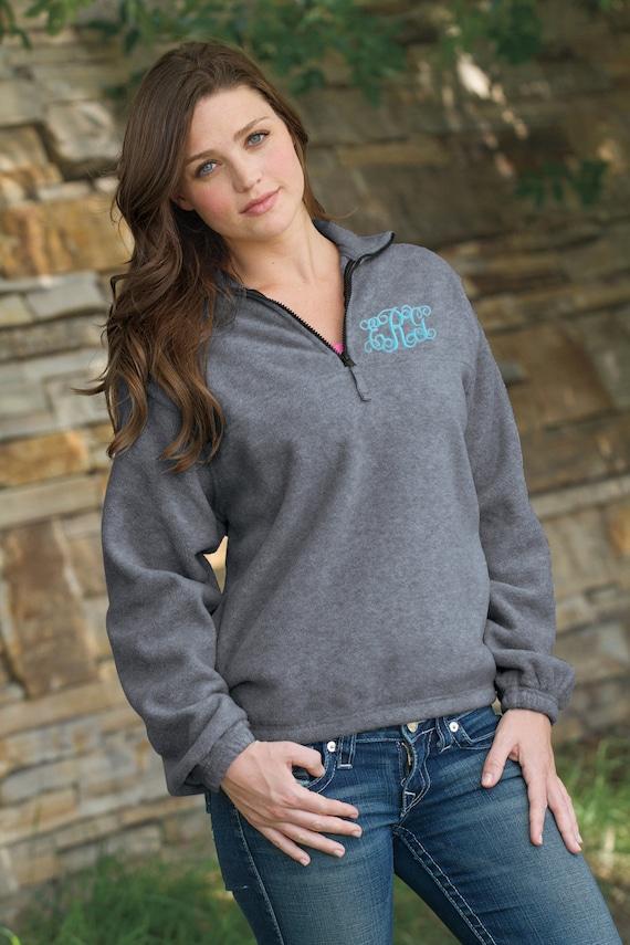 Personalized Embroidered Monogram Quarter-Zip Fleece Pullover
