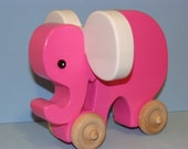 Wooden Toy Elephant on the Go - Pink Lady/White ears