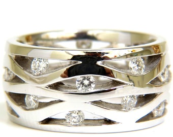 18KT .75CT Diamond 3D Channel Wave Wide Band 10.50Mm Size 6.5