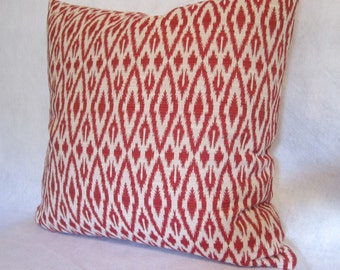 Red Ikat Pillow Cover in Duralee's Chili Hot Pepper Fabric