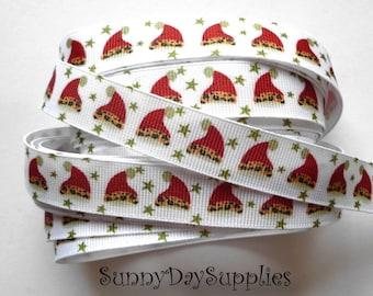Sale, Grosgrain Santa's Hat with Animal Print trim, Red Christmas Santa Hat, 5 YARDS, 5/8 inch wide, Santa Ribbon, Christmas Clearance, Sale