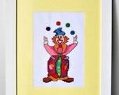 two Clowns art, Nursery Decor, hand embrodered canvas wall art, Clown decor,  Kids room wall art, Children Decor, Circus clowns, set of 2