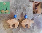 Bear Token and Lapis Lazuli Bead Earrings