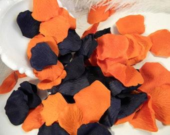 200 Rose Petals Bulk, Artificial, Navy Blue and Burnt Orange Wedding Decoration, Romantic, Flower Tossing Petals, Embellishment, Fall