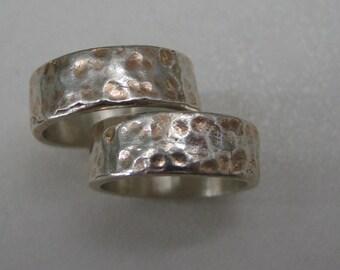 Pair of Vintage hammered sterling wide band rings