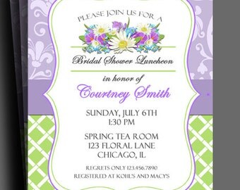 Lavender Floral Invitation Printable or Printed w/ FREE SHIPPING - Bridal Shower, Birthday, Luncheon, Any Celebration - Shabby Chic Floral