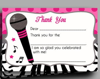 Hot Pink Zebra Thank You Printable - Sing, Microphone, Rock Star, Dance Party - Rock Star Diva Collection