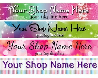 Large Etsy Facebook Cover Photo Ready Made Premade Pink Colorful Rainbow Pink Glitter Sparkle Shop Banner- Pick one