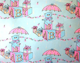 Vintage Wrapping Paper - Full Sheet Gift Wrap - Baby Block Shower