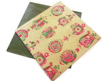 Vintage Gift Wrap - Folk Art Ornaments - Full Sheet Wrapping Paper - with additional One Sheet complementing vintage green sheet