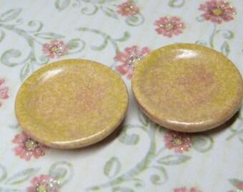 20mm Dollhouse Miniature plates set 2 pcs dijon mustard stoneware 1:12 scale one inch ceramic yellow dishes