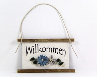 Quilled Magnet -352- Willkommen - German Welcome, Kitchen Decor, Party Favor, Blue and Grey Decor